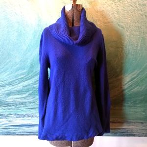 Cozy oversized royal blue cowl neck sweater
